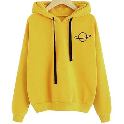 cheap Hoodies & Sweatshirts-Women's Casual Hoodie - Print Black S