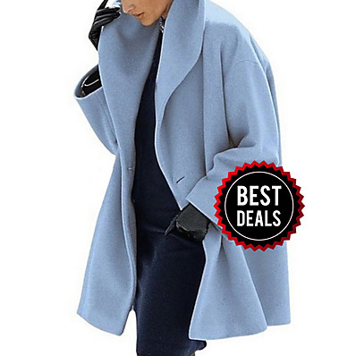 cheap OUTERWEAR-Women's Daily Fall & Winter Long Coat, Solid Colored Turndown Long Sleeve Polyester Black / Light Blue / White