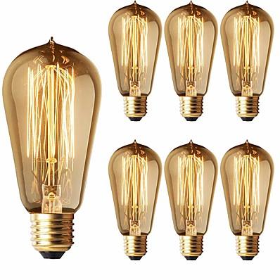 cheap Light Bulbs-6-Pack 40W Edison Light Bulbs ST58 Filament Vintage Bulb Antique Style Incandescent Light Bulbs - E26/E27 Base - Clear Glass - Tear Drop Top Lamp for Chandeliers Wall Sconces Pendant Lighting