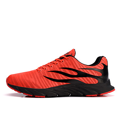 cheap Men's Shoes-Men's Comfort Shoes Canvas / Mesh Spring & Summer Sporty / Casual Athletic Shoes Running Shoes / Walking Shoes Breathable Slogan Black / Orange