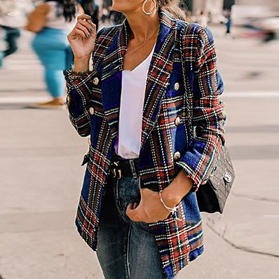 cheap Blazers-Women's Blazer, Plaid Notch Lapel Polyester Black / Wine / Purple