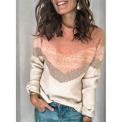 cheap Knit Tops-Women's Color Block Long Sleeve Pullover Sweater Jumper, Round Neck Blushing Pink M / L / XL