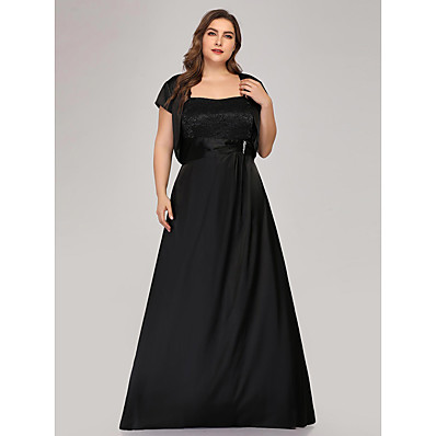 cheap Mother of the Bride Dresses-A-Line Spaghetti Strap Floor Length Lace / Satin Short Sleeve Plus Size Mother of the Bride Dress with Crystal Brooch 2020