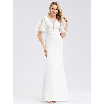 cheap Wedding Dresses-Mermaid / Trumpet Jewel Neck Floor Length Polyester / Spandex / Lace Short Sleeve Made-To-Measure Wedding Dresses with Lace Insert 2020