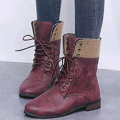 cheap New In-Women's Boots Comfort Shoes Flat Heel Round Toe PU Mid-Calf Boots Winter Brown / Red / Blue