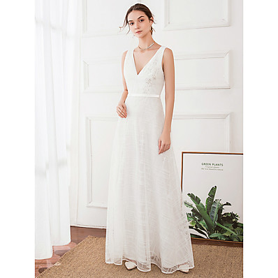 cheap Wedding Dresses-A-Line V Neck Floor Length Polyester / Satin Regular Straps Made-To-Measure Wedding Dresses with 2020