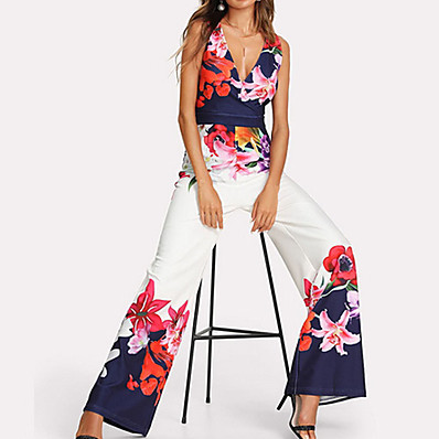 cheap Jumpsuits-Women's Floral Kentucky Derby Daily Elegant Deep V White Wide Leg Jumpsuit Onesie, Floral S M L