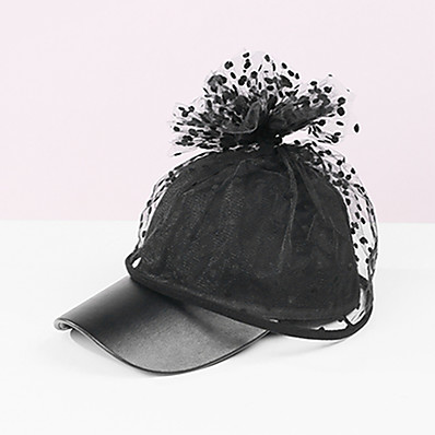 cheap Accessories-Women's Baseball Cap Party Masquerade Holiday Wine Black Round Dots Hat / Lace / Fall / Winter / Spring