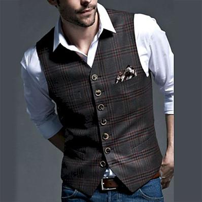 cheap Men's Outerwear-Men's Vest, Plaid V Neck Polyester Black