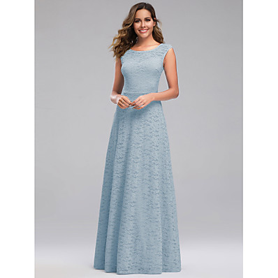 cheap Bridesmaid Dresses-A-Line Jewel Neck Floor Length Polyester / Spandex / Lace Bridesmaid Dress with Lace