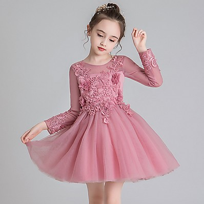 cheap Kids-Kids Little Dress Girls' Solid Colored Party Vacation Tulle Dress Embroidered Mesh White Red Knee-length Long Sleeve Princess Cute Dresses Fall Spring Thanksgiving Regular Fit 4-13 Years
