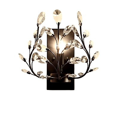 cheap Indoor Lighting-American Country Single Head Wall Lamp European Style Living Room Bedroom Bedside Wall Lamp Creative Retro Iron Candle Crystal Wall Lamp