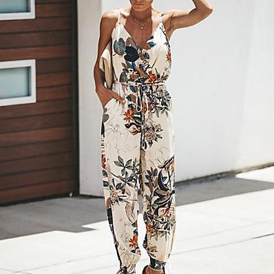 cheap Jumpsuits-Women's Vacation Deep V Wine Black Beige Jumpsuit Onesie, Floral Print S M L Cotton Summer