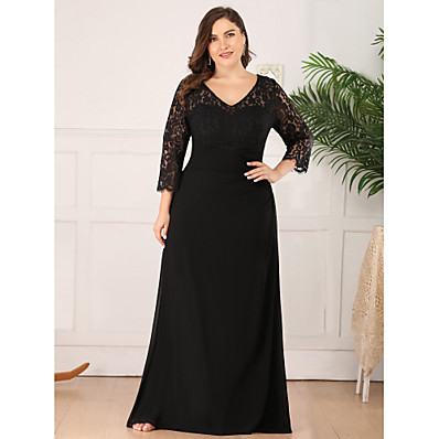 cheap Mother of the Bride Dresses-A-Line V Neck Floor Length Chiffon / Lace 3/4 Length Sleeve Plus Size Mother of the Bride Dress with Lace 2020
