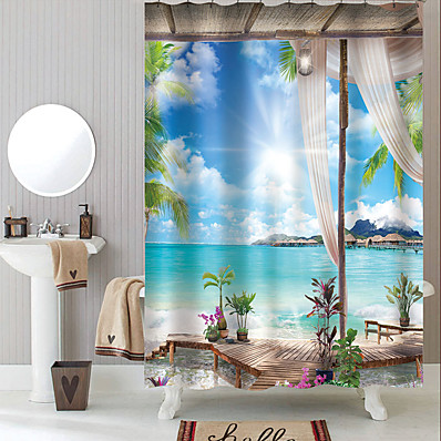 cheap Bath Accessories-Shower Curtains with Hooks Rustic Coconut Bay Scenery Polyester Novelty Fabric Waterproof Shower Curtain for Bathroom