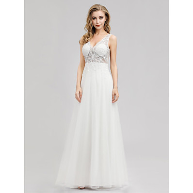cheap Wedding Dresses-A-Line V Neck Floor Length Tulle Regular Straps See-Through Made-To-Measure Wedding Dresses with 2020