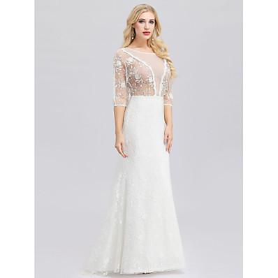 cheap Wedding Dresses-Mermaid / Trumpet Jewel Neck Floor Length Lace / Tulle 3/4 Length Sleeve Floral Lace Made-To-Measure Wedding Dresses with Lace 2020 / Illusion Sleeve