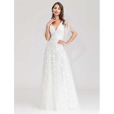 cheap Wedding Dresses-A-Line V Neck Maxi Tulle Short Sleeve Made-To-Measure Wedding Dresses with Lace 2020