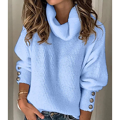 cheap New in-Women's Solid Colored Pullover Long Sleeve Sweater Cardigans Turtleneck White Light Blue
