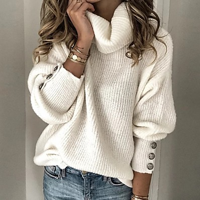 cheap Knit Tops-Women's Solid Colored Pullover Long Sleeve Sweater Cardigans Turtleneck White Light Blue