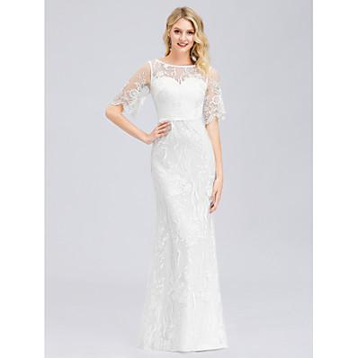 cheap Wedding Dresses-Mermaid / Trumpet Jewel Neck Floor Length Spandex / Lace Short Sleeve Made-To-Measure Wedding Dresses with Lace 2020 / Illusion Sleeve