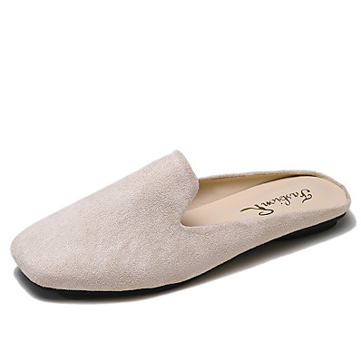 cheap Slippers-Women's Slippers & Flip-Flops Flat Heel Square Toe Suede / Faux Leather Casual / Minimalism Spring & Summer / Fall & Winter Black / Yellow / Beige