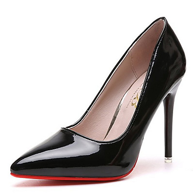 cheap Pumps & Heels-Women's Heels Pumps Pointed Toe Business Classic Daily PU Solid Colored Summer Almond Black Red / 3-4