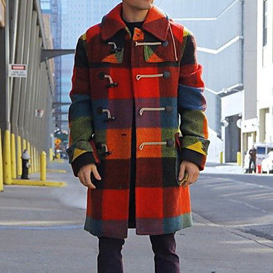 cheap Men's Outerwear-Men's Daily Basic Winter Long Coat, Solid Colored Black & Red Turndown Long Sleeve Others Oversized Red