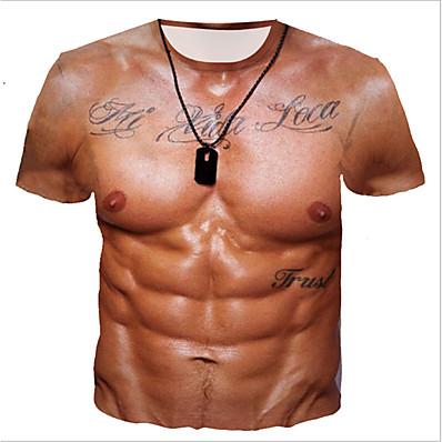 cheap Men's Tops-Men's Daily T-shirt - Letter Khaki