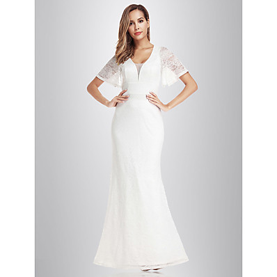 cheap Wedding Dresses-Mermaid / Trumpet V Neck Floor Length Lace Short Sleeve Made-To-Measure Wedding Dresses with Lace 2020 / Illusion Sleeve