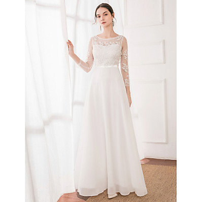 cheap Wedding Dresses-A-Line Jewel Neck Floor Length Polyester / Lace / Satin Long Sleeve Made-To-Measure Wedding Dresses with Lace 2020
