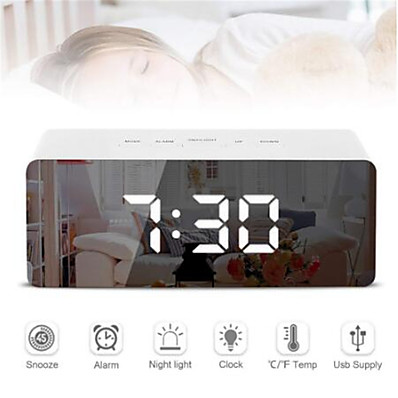 cheap Electrical & Tools-Digital LED Alarm Clock Mirror Night Light Big LCD Display Electronic Table Clock with thermometer Snooze Function Desktop