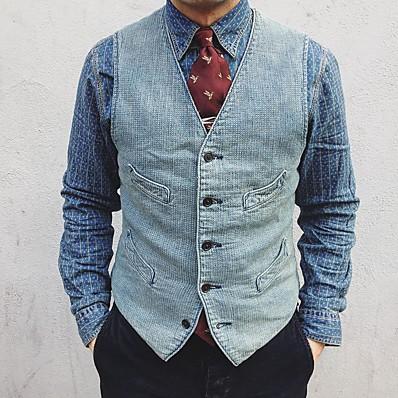 cheap Men's Outerwear-Men's Vest, Solid Colored V Neck Polyester Light Blue