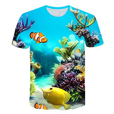 cheap Boys' Clothing-Kids Toddler Boys' T shirt Tee Short Sleeve 3D Print Fish Shark Ocean Light Blue Lake blue Navy Children Tops Summer Active Streetwear Cute Children's Day 2-12 Years