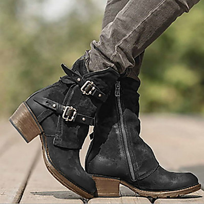 cheap New In-Women's Boots Comfort Shoes Low Heel Round Toe PU Booties / Ankle Boots Winter Black / Dark Brown