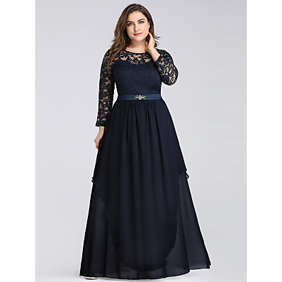 cheap Mother of the Bride Dresses-A-Line Jewel Neck Floor Length Chiffon Long Sleeve Vintage / Plus Size Mother of the Bride Dress with Lace 2020
