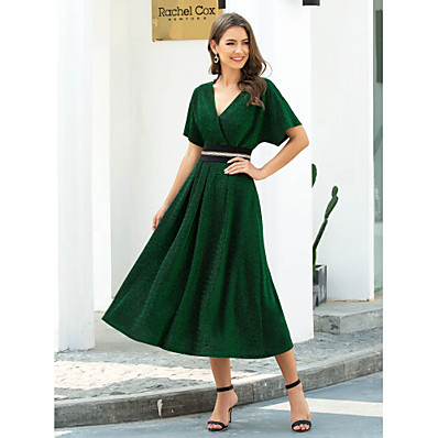 cheap Evening Dresses-A-Line V Neck Tea Length Polyester / Nylon / Spandex Retro / Chinese Style Cocktail Party / Party Wear / Wedding Guest Dress 2020 with Sash / Ribbon