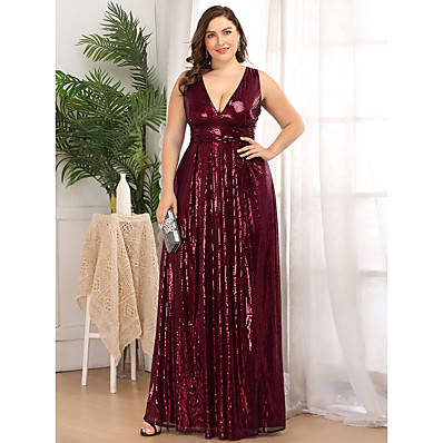 cheap Mother of the Bride Dresses-A-Line Plunging Neck Floor Length Polyester / Nylon Sleeveless Plus Size Mother of the Bride Dress with Sequin 2020