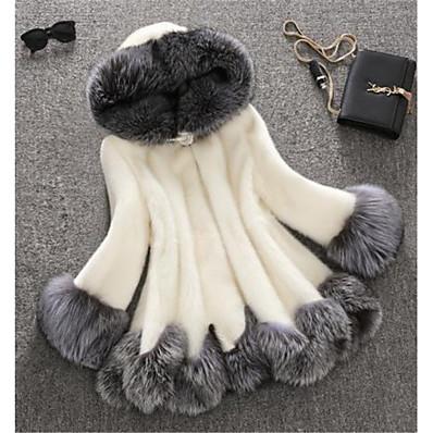 cheap NewIn-Women's Winter Faux Fur Coat Long Color Block Plus Size White White Black S M L