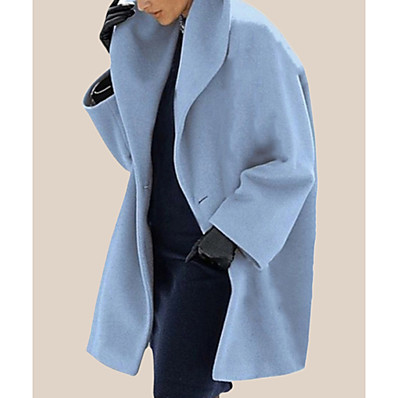 cheap Valentine's Gifts-Women's Coat Fall Winter Casual Daily Long Coat Turndown Windproof Warm Regular Fit Chic & Modern Casual Jacket Long Sleeve Classic Solid Colored Purple Gray White