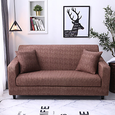 cheap Home Textiles-Luxury Basic Solid Dustproof Stretch Slipcovers Stretch Sofa Cover Super Soft Fabric Couch Cover (You will Get 1 Throw Pillow Case as free Gift)