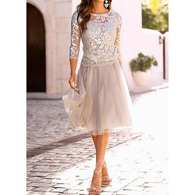 cheap Dresses-Women's Cocktail Party Elegant A Line Dress - Solid Colored Lace Lace Beige M L XL XXL / Slim