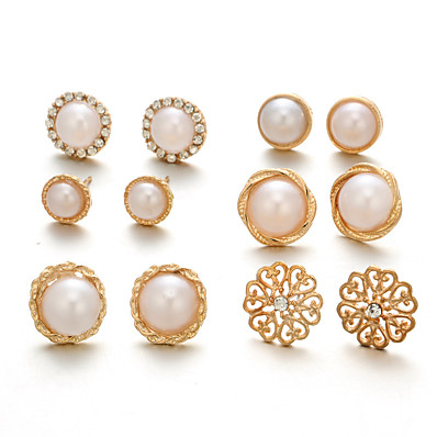cheap Jewelry-Women's Earrings Classic Mini Earrings Jewelry Gold For Christmas Party Anniversary Carnival Festival 6 Pairs