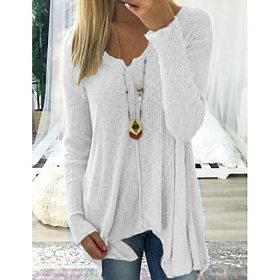 cheap Knit Tops-Women's Casual Solid Colored Long Sleeve Long Pullover Sweater Jumper, Deep V Spring / Fall Black / White / Blushing Pink S / M / L