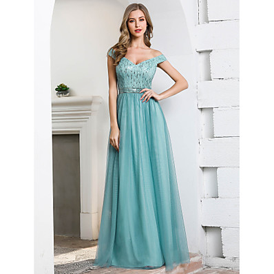 cheap Bridesmaid Dresses-A-Line V Neck / Off Shoulder Floor Length Tulle Bridesmaid Dress with Sequin