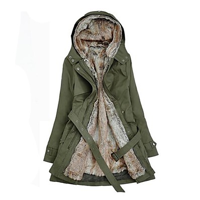 cheap NewIn-Women's Winter Parka Parka Casual / Daily Solid Colored Long Cotton Long Sleeve Hooded Black / Army Green / Beige S / M / L