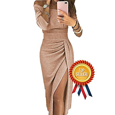 cheap Dresses-Women's Off Shoulder Cocktail Party New Year Going out Sexy Asymmetrical Bodycon Sheath Dress - Solid Color Pleated Patchwork Asymmetric Off Shoulder Black Blushing Pink Gold S M L XL