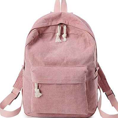 cheap Bags-Women's Corduroy School Bag Commuter Backpack Adjustable Large Capacity Zipper Daily Black Blue Almond Blushing Pink Green
