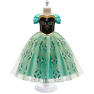 cheap Girls' Clothing-Kids Little Girls' Dress Graphic Geometric Flower Birthday Party Cosplay Costumes Pegeant Embroidery Print Green Princess Lolita Elegant Sweet Dresses Easter
