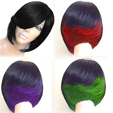 cheap Beauty & Hair-Synthetic Wig Straight Bob Wig Medium Length Black / Burgundy Natural Black Black / Green Black / Purple Black / Red Synthetic Hair 10 inch Women's Color Gradient Red Black